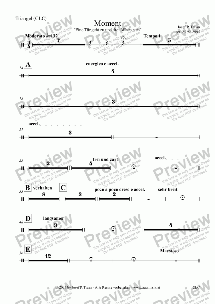 page one of the Triangel (CLC) part from Moment (CLC/Score & Parts)