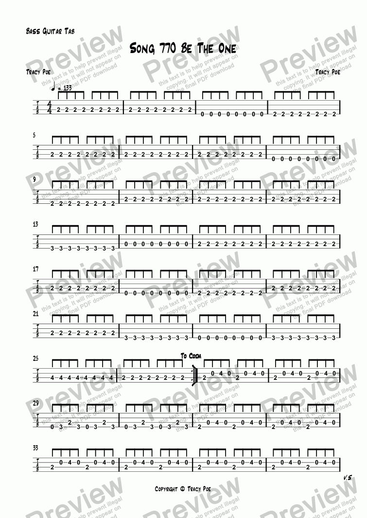 page one of the Bass Guitar Tab part from Song 770 Be The One