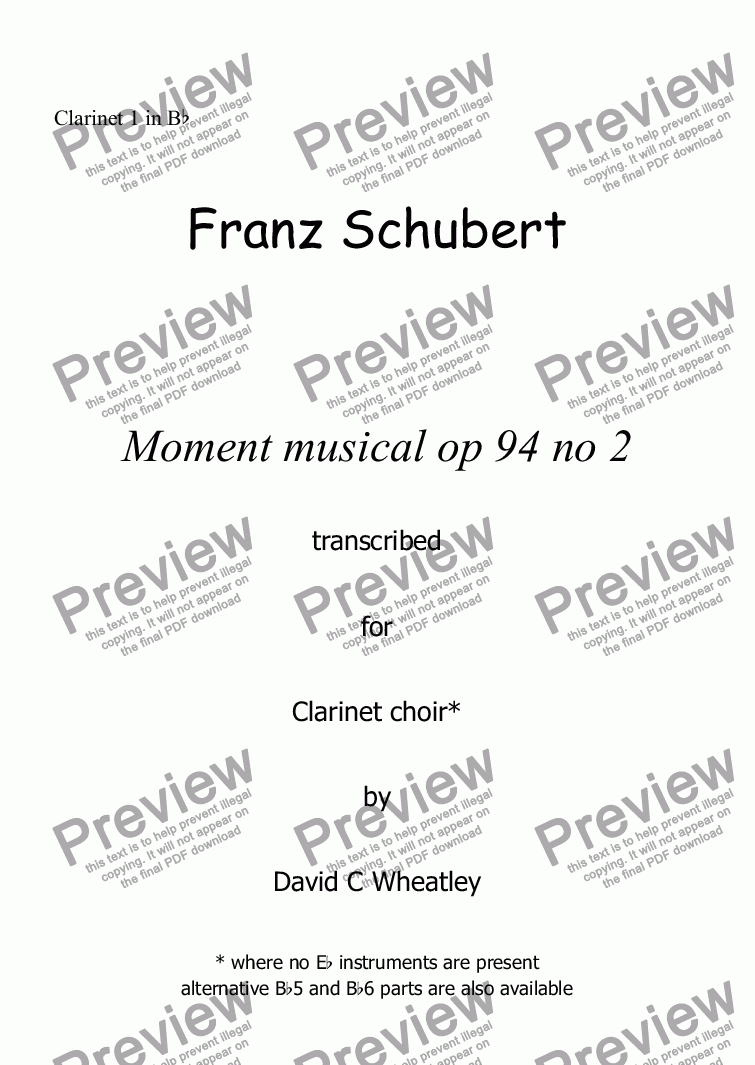 page one of the Clarinet 1 in Bb part from Schubert - Moment musical op 94 no 2 transcribed for clarinet choir by David Wheatley
