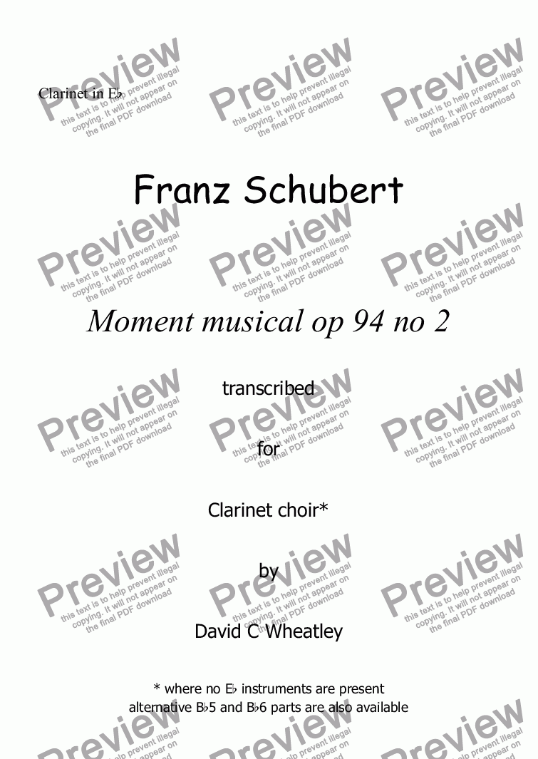 page one of the Clarinet in Eb part from Schubert - Moment musical op 94 no 2 transcribed for clarinet choir by David Wheatley