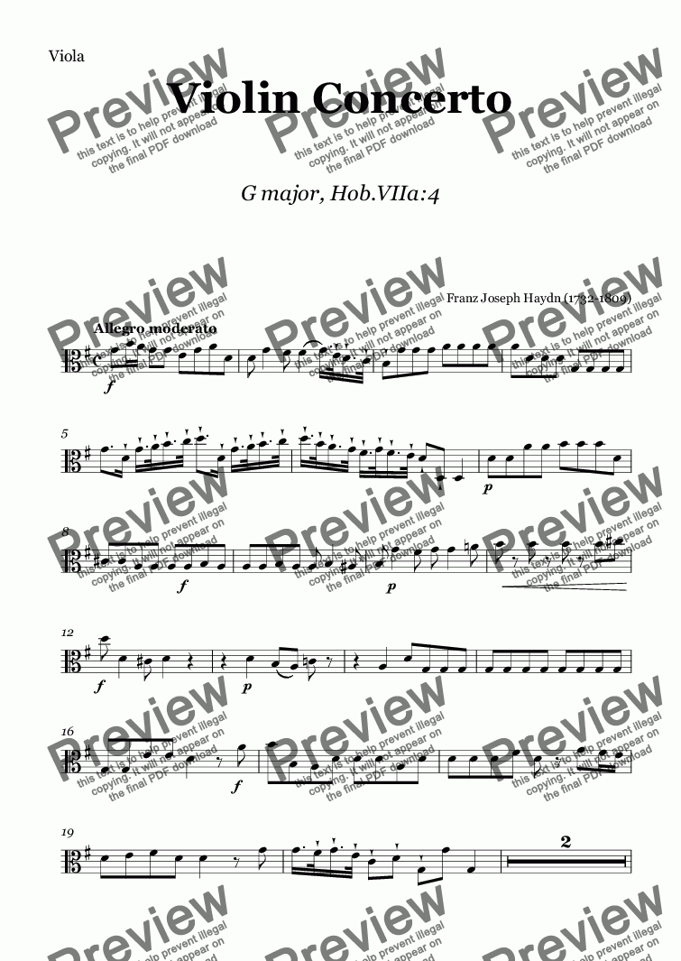 page one of the Viola part from J. Haydn - Violin Concerto G major, Hob.VIIa:4, score and parts