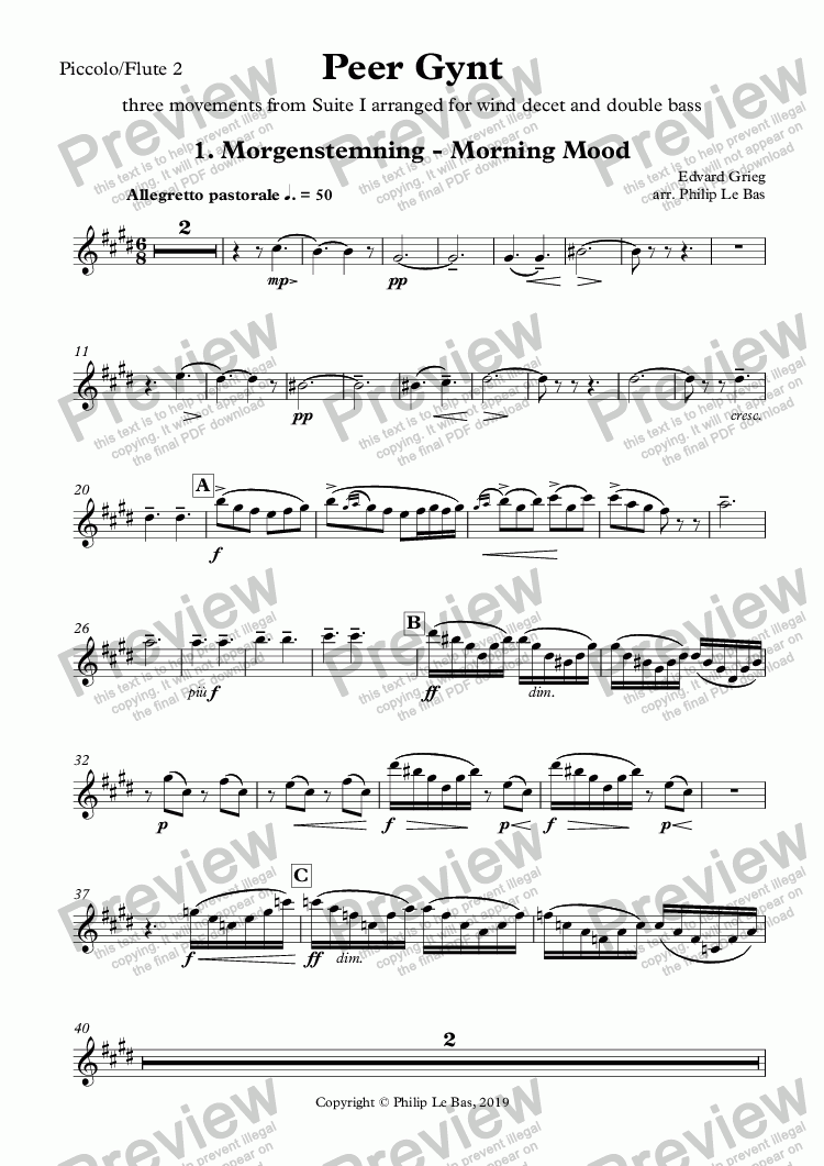 page one of the Piccolo/Flute 2 part from Peer Gynt