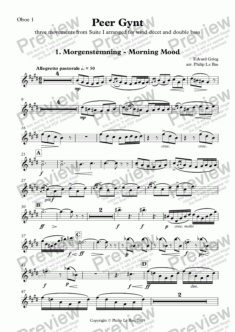 page one of the Oboe 1 part from Peer Gynt