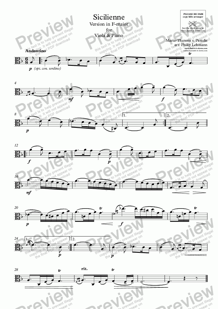 page one of the Viola part from 	Paradis, M.T.v. - Sicilienne - vers. in F-maj. for Viola & Piano (orig.)