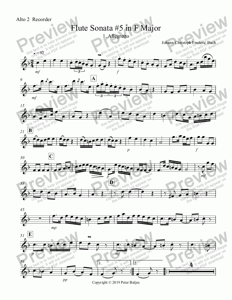 page one of the Alto 2  Recorder part from Bach JCF, Flute Sonata No. 5 in F Major for AATB Recorders