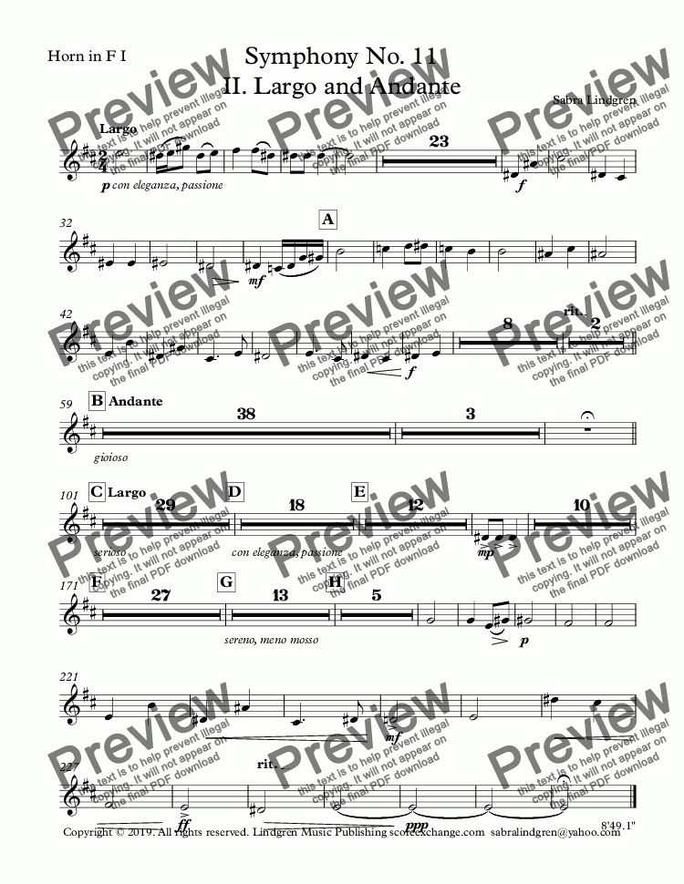 page one of the Horn in F I part from Symphony No. 11 II. Largo and Andante