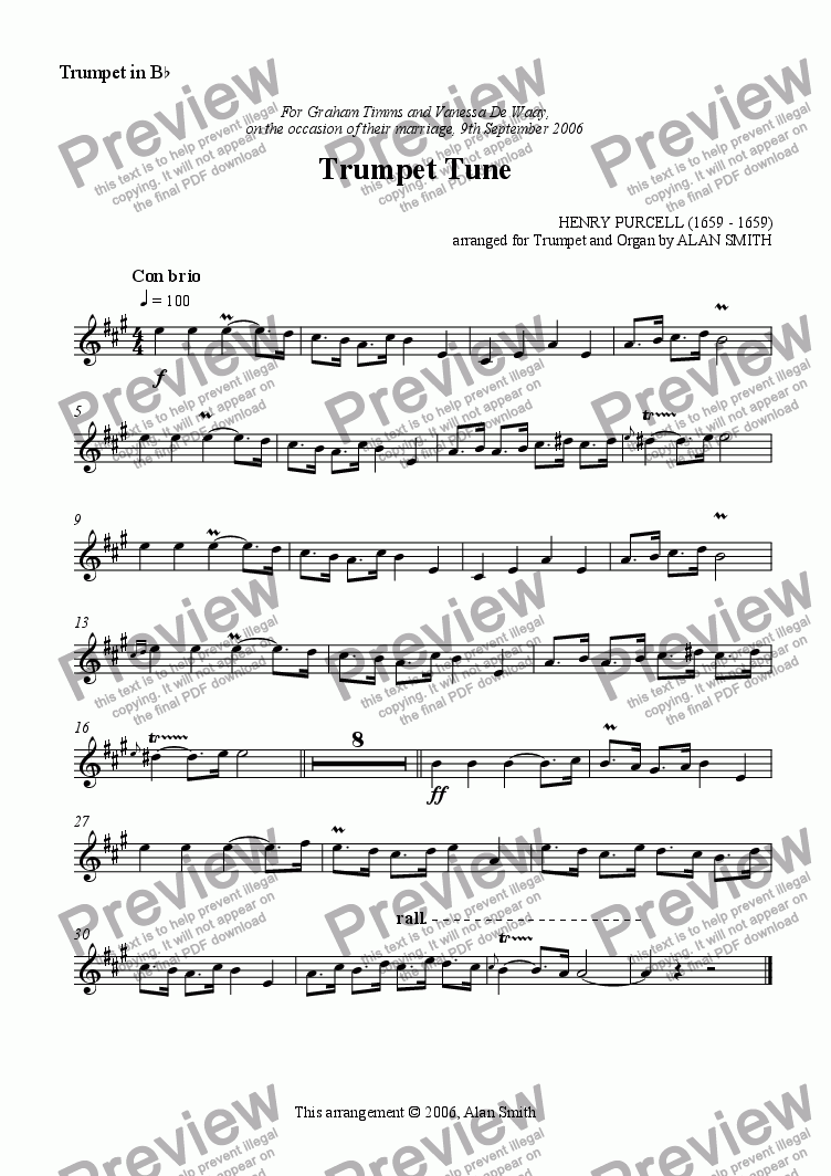 page one of the Trumpet part from Trumpet Tune (Purcell)