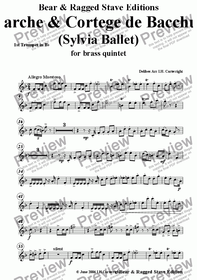 page one of the 1st trumpet Bb part from Marche & Cortege de Bacchus for brass quintet