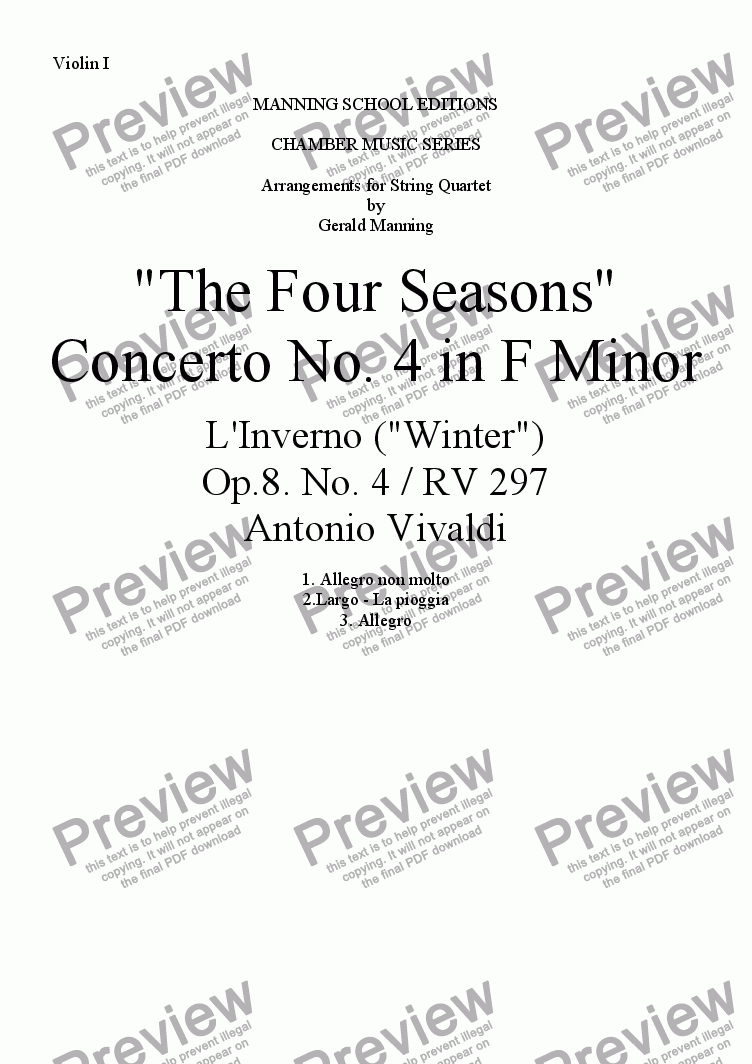"page one of the Violin I part from VIVALDI, A.- ""The Four Seasons"" - Concerto No. 4 in F Minor: L'Inverno (""Winter"") - arr. for String Quartet by Gerald Manning"