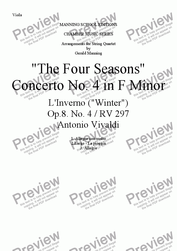"page one of the Viola part from VIVALDI, A.- ""The Four Seasons"" - Concerto No. 4 in F Minor: L'Inverno (""Winter"") - arr. for String Quartet by Gerald Manning"