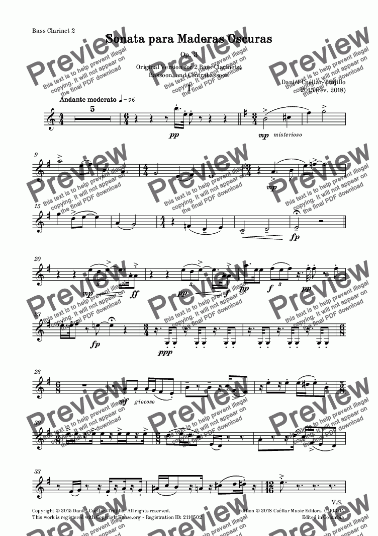 page one of the Bass Clarinet 2 part from Sonata para Maderas Oscuras, Op. 3 - Original Version