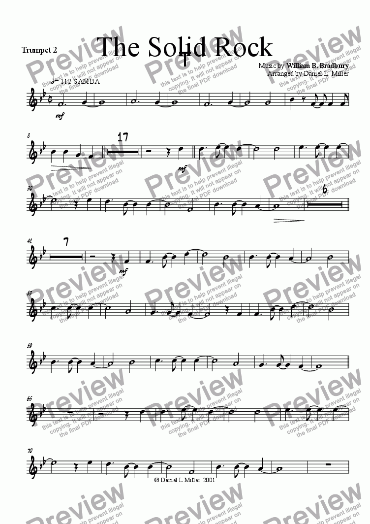 page one of the Trumpet 2 part from The Solid Rock