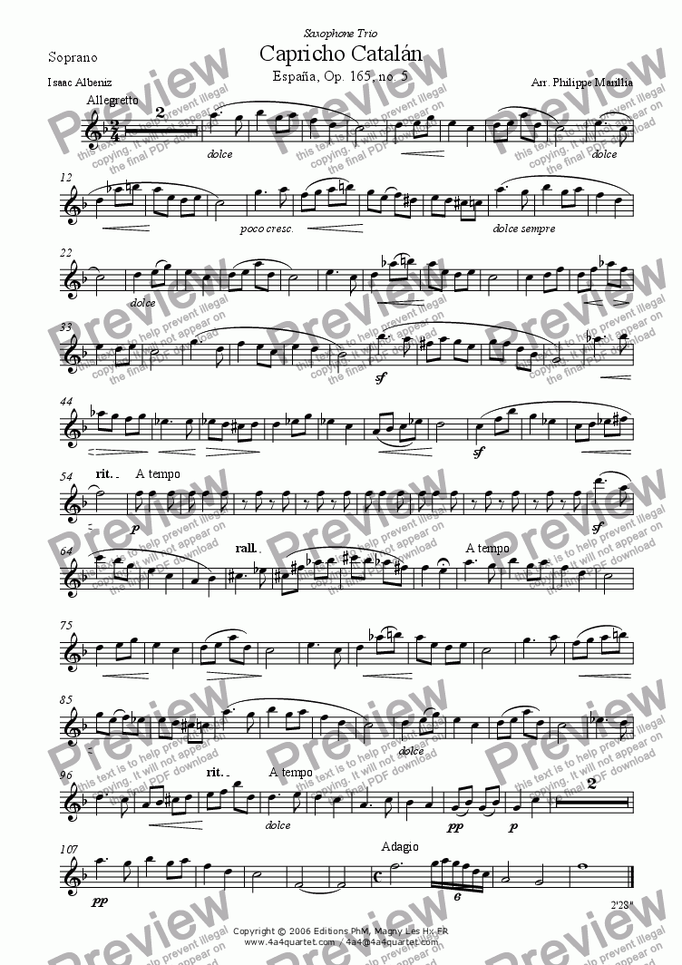 page one of the Soprano Sax part from Albeniz - Capricho Catalan (Sax trio SAB)