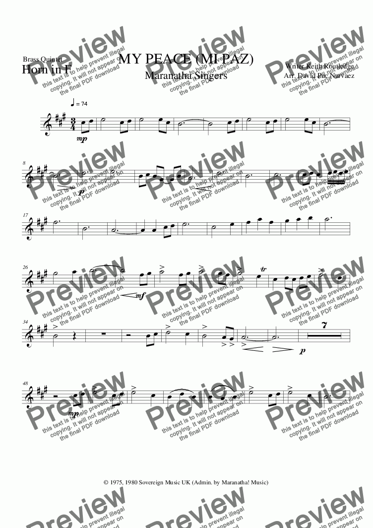 page one of the 003 Horn in F part from My Peace - Brass Quintet