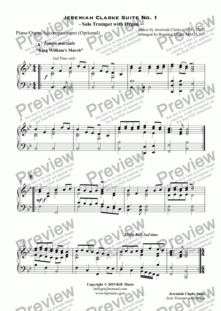 page one of the Piano/Organ Accompaniment (Optional) part from Jeremiah Clarke Suite No. 1 - Solo Trumpet with Organ