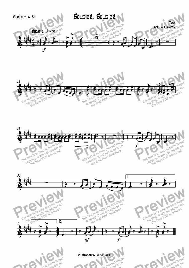 page one of the Clarinet in Bb part from Soldier, Soldier