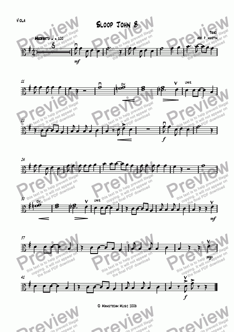 page one of the Viola part from Sloop John B