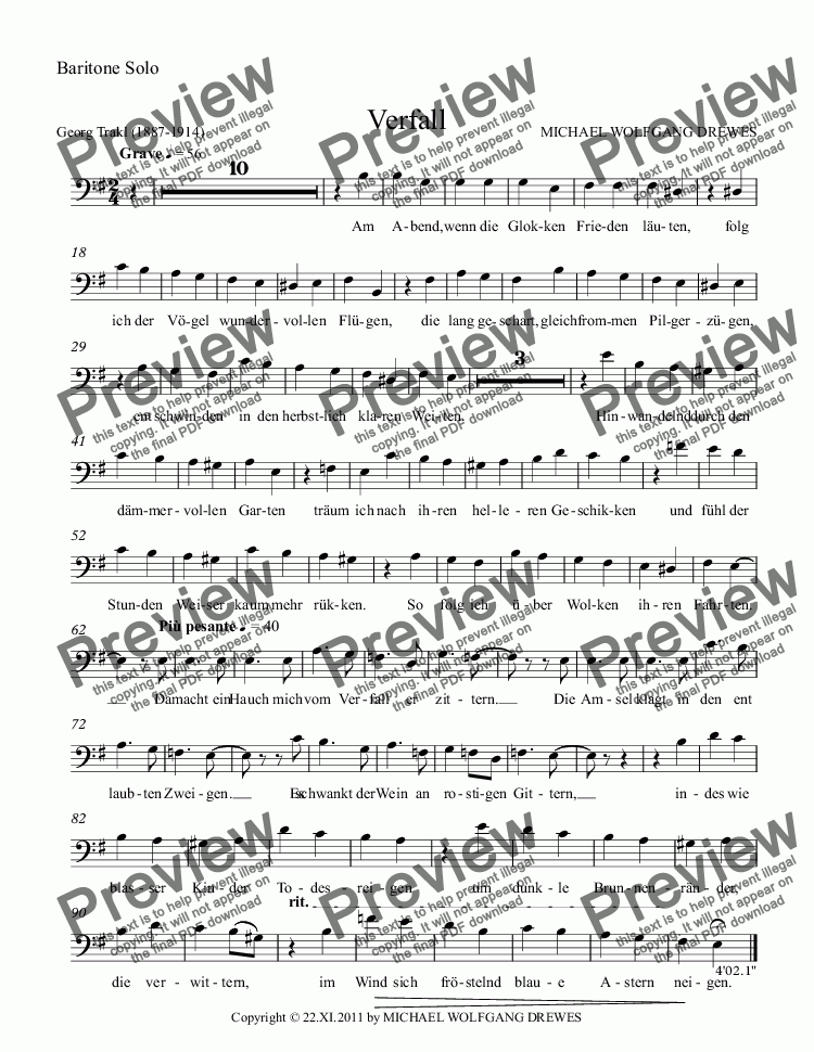 page one of the Baritone Solo part from Verfall