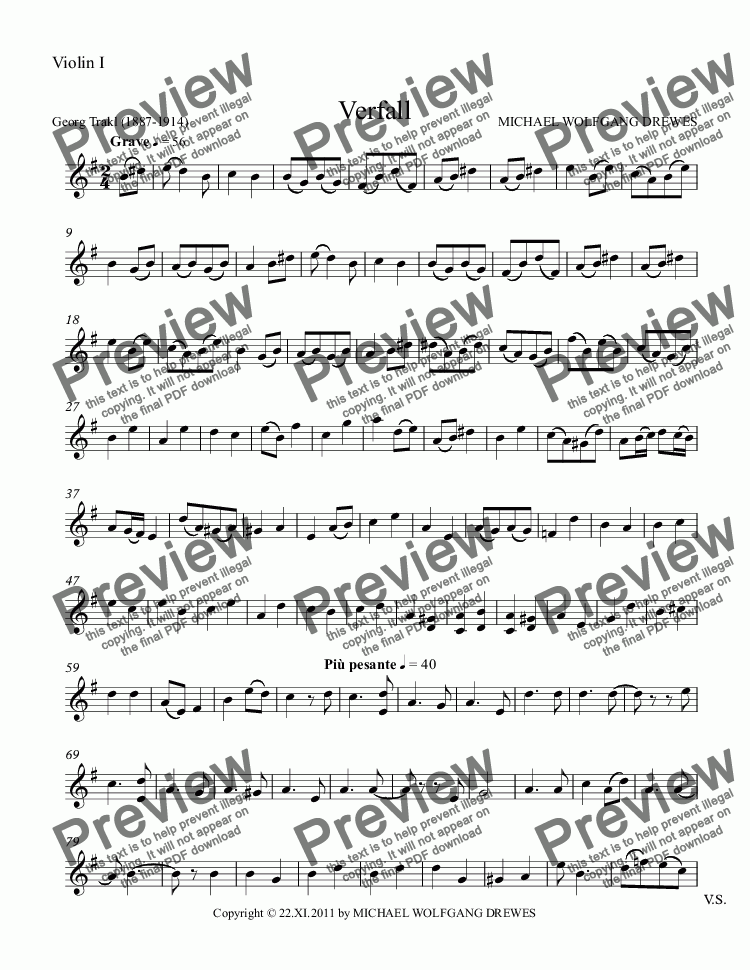 page one of the Violin I part from Verfall