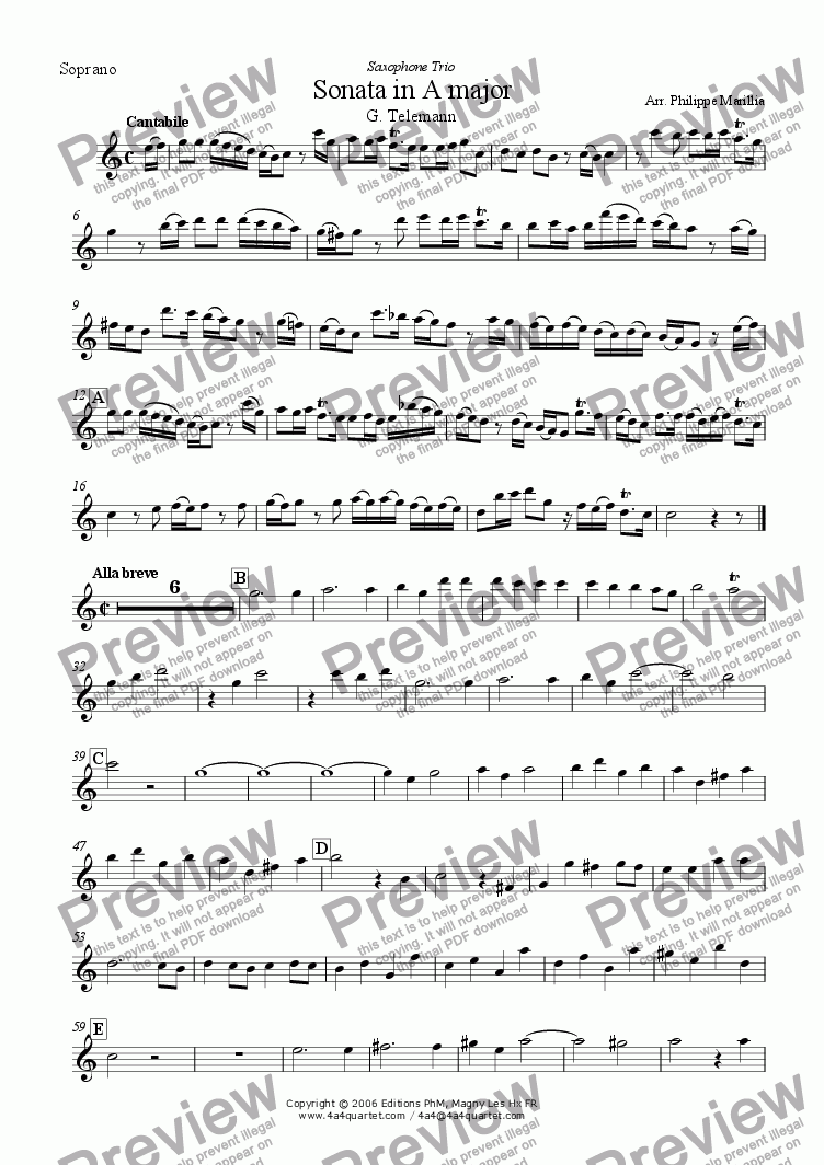 page one of the Soprano Sax part from Telemann - Sonata in A (Sax trio SAB)