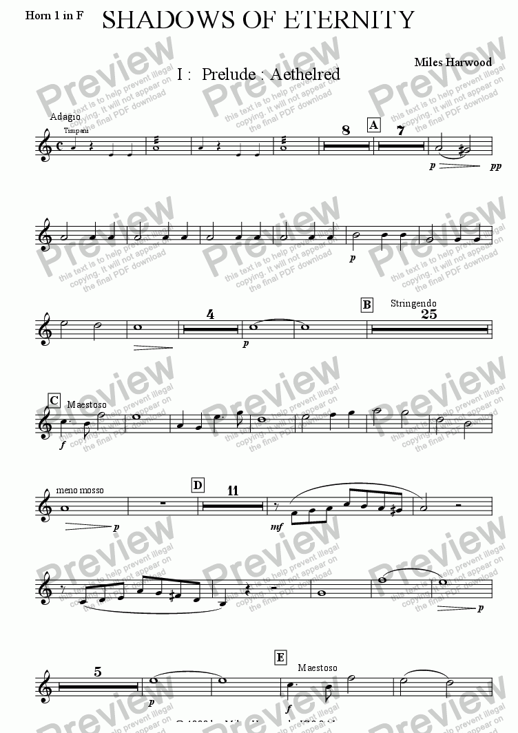 page one of the Horn 1 part from Shadows of Eternity Op.2