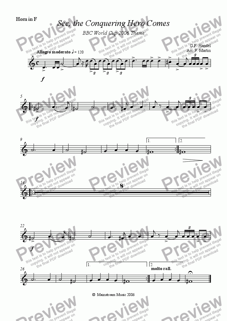 page one of the Horn in F part from See, the Conquering Hero Comes - Orchestra