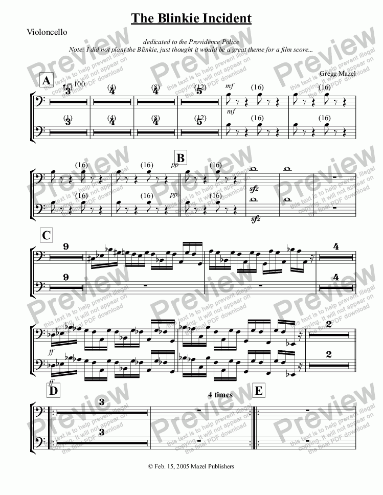 page one of the The Blinkie Incident - Cello part from The Blinkie Incident