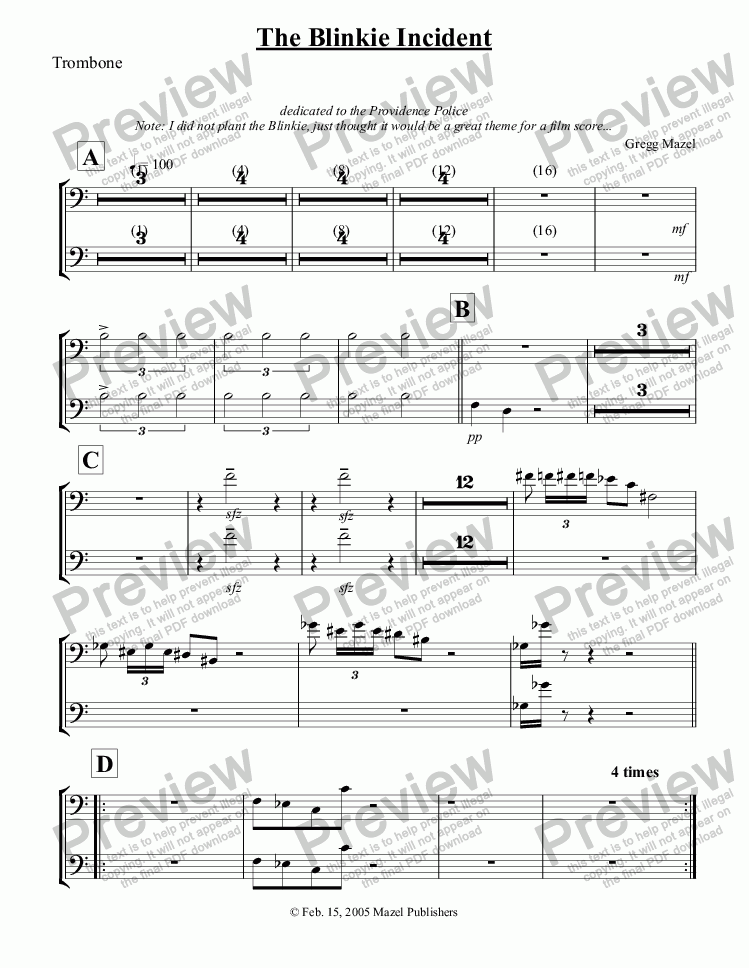 page one of the The Blinkie Incident - Trombone part from The Blinkie Incident