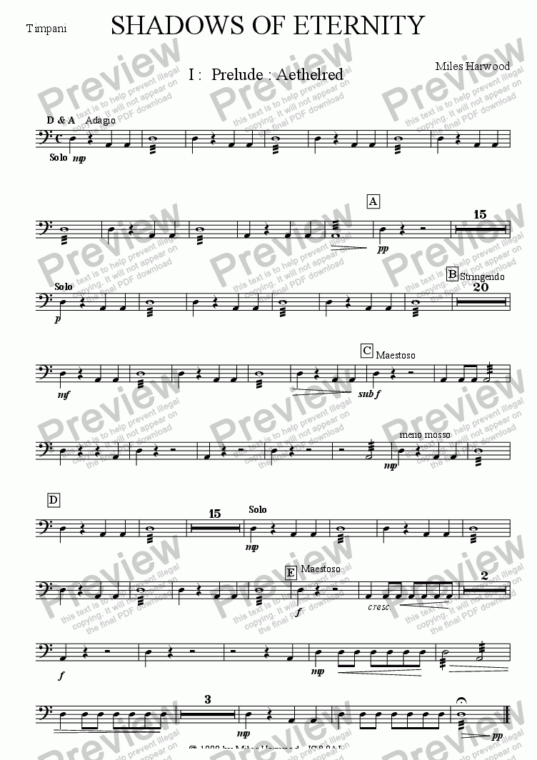 page one of the Timpani part from Shadows of Eternity Op.2