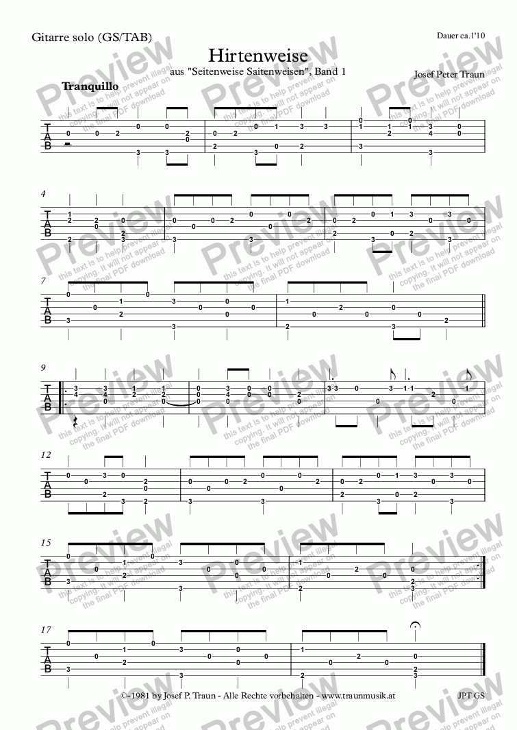 page one of the Gitarre (GS/TAB) part from Hirtenweise (GS/TAB)