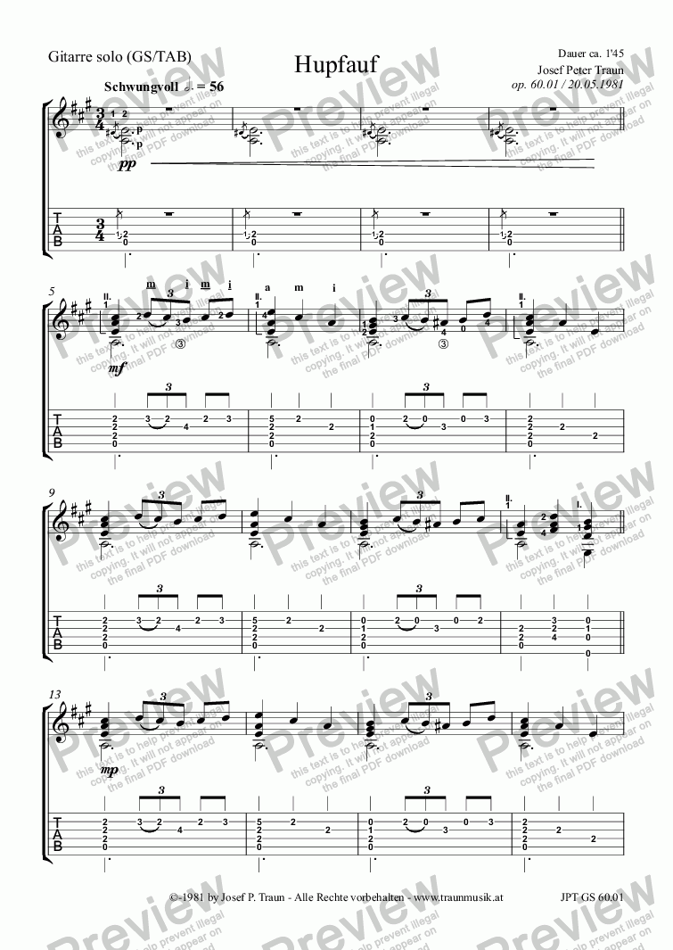 page one of the Gitarre (GS plus TAB) part from Hupfauf (GS)