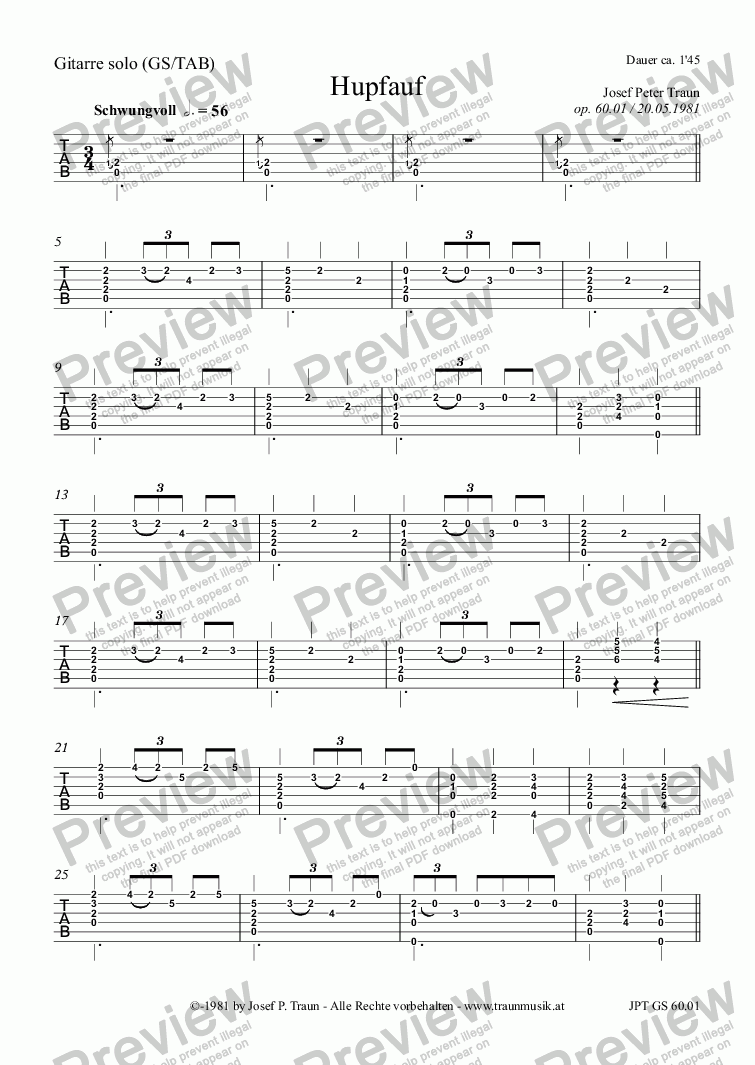 page one of the Gitarre (GS/TAB) part from Hupfauf (GS)