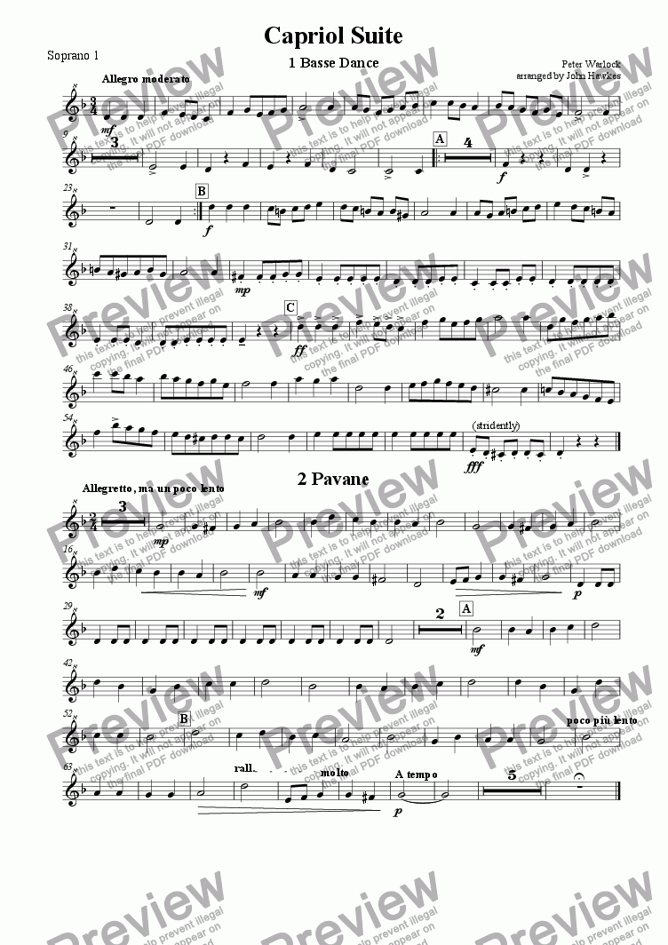 page one of the Soprano 1 part from Warlock: Capriol Suite