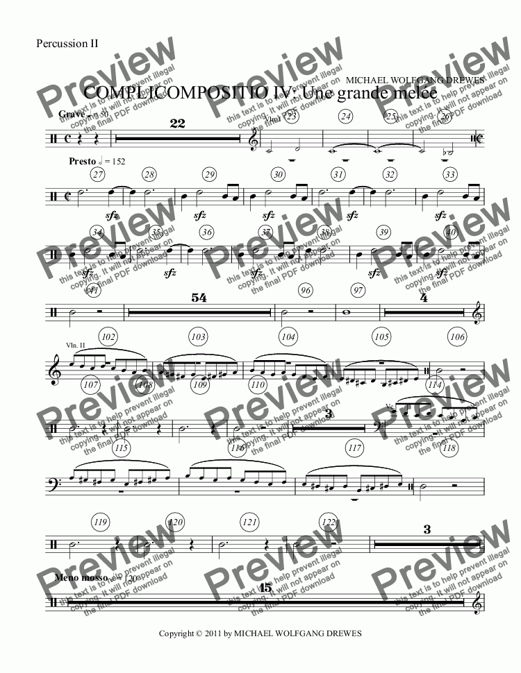 page one of the Percussion II part from COMPLICOMPOSITIO IV: Une grande melée