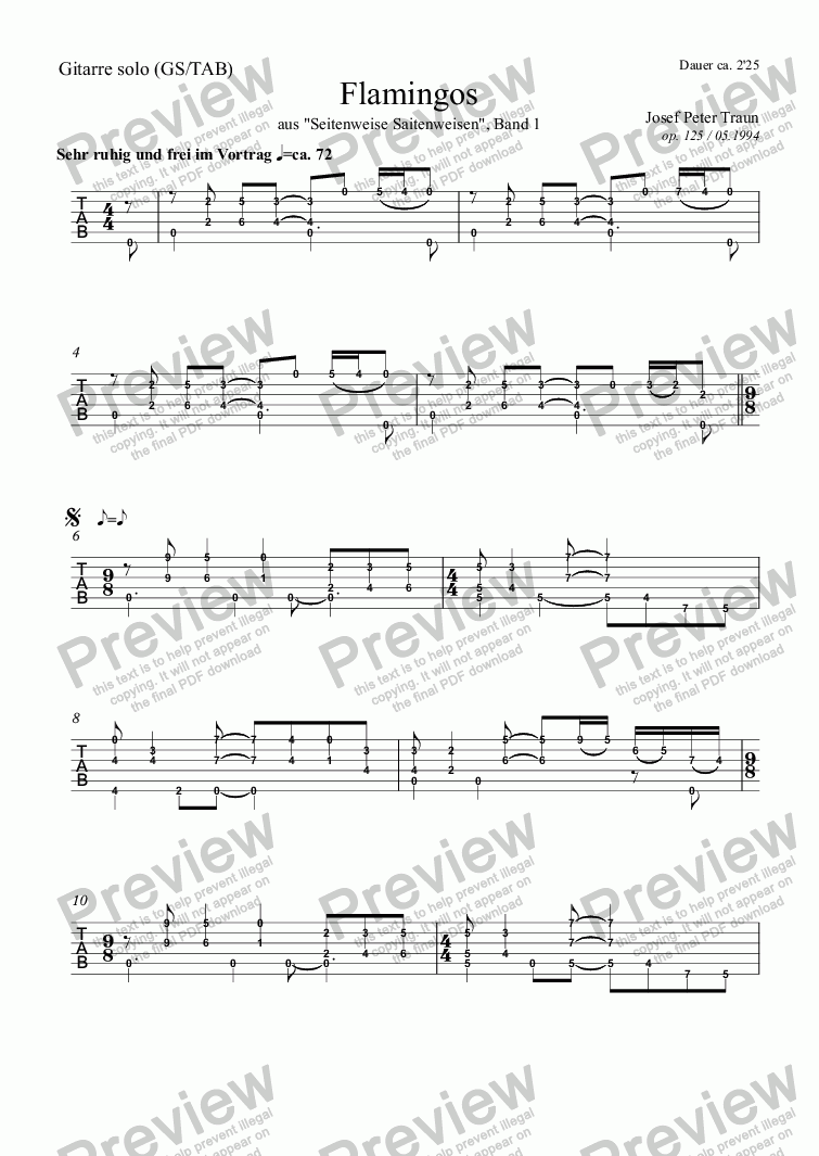 page one of the Gitarre (GS/TAB) part from Flamingos (GS/TAB)