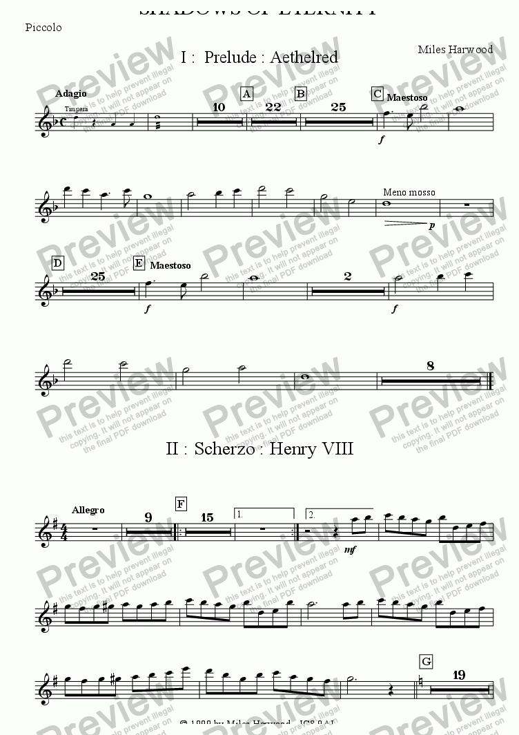 page one of the Piccolo part from Shadows of Eternity Op.2