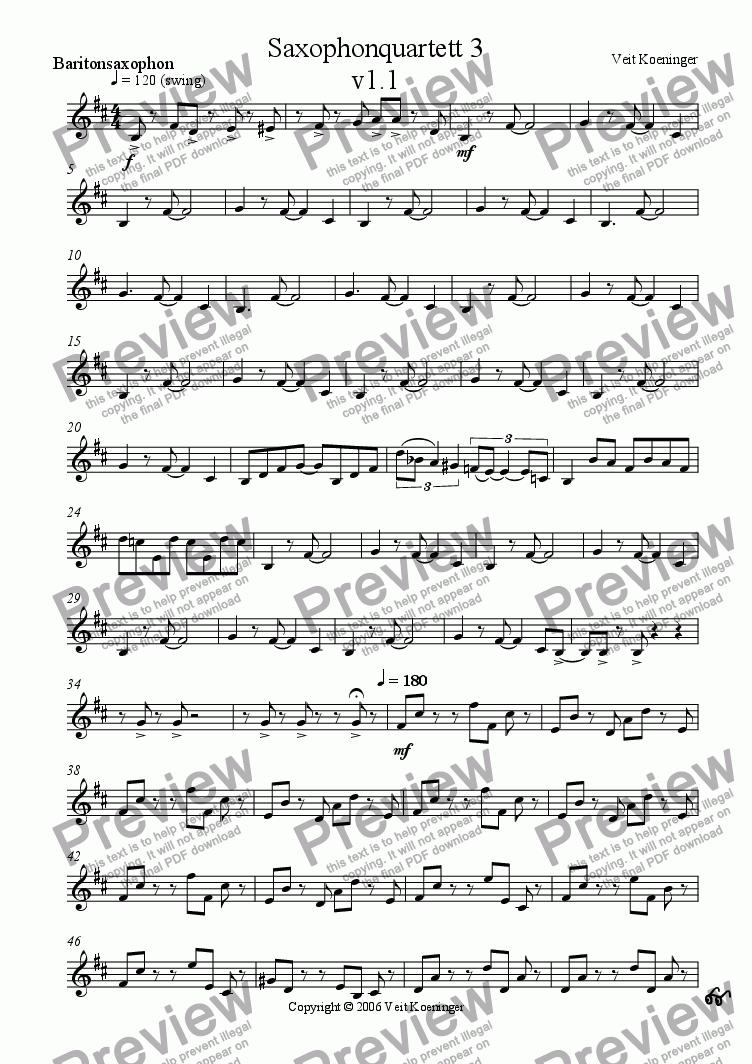 page one of the baritone saxophone part from Saxophone quartet  3