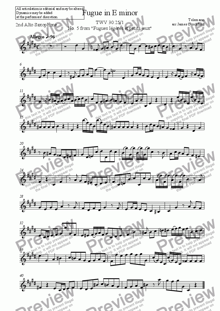 page one of the Alto Saxophone (Part 2) part from Fugue in E minor for Saxophone Duet (SB/SA/AT/AA)