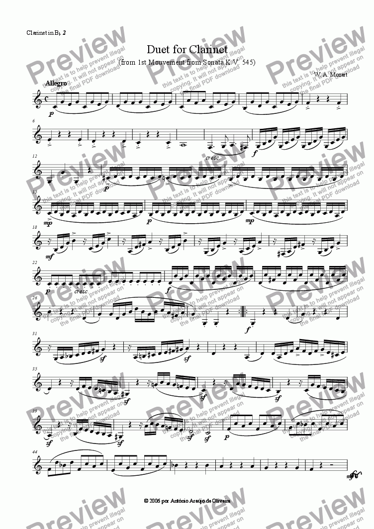 page one of the Clarinet in Bb 2 part from Duet for Clarinet