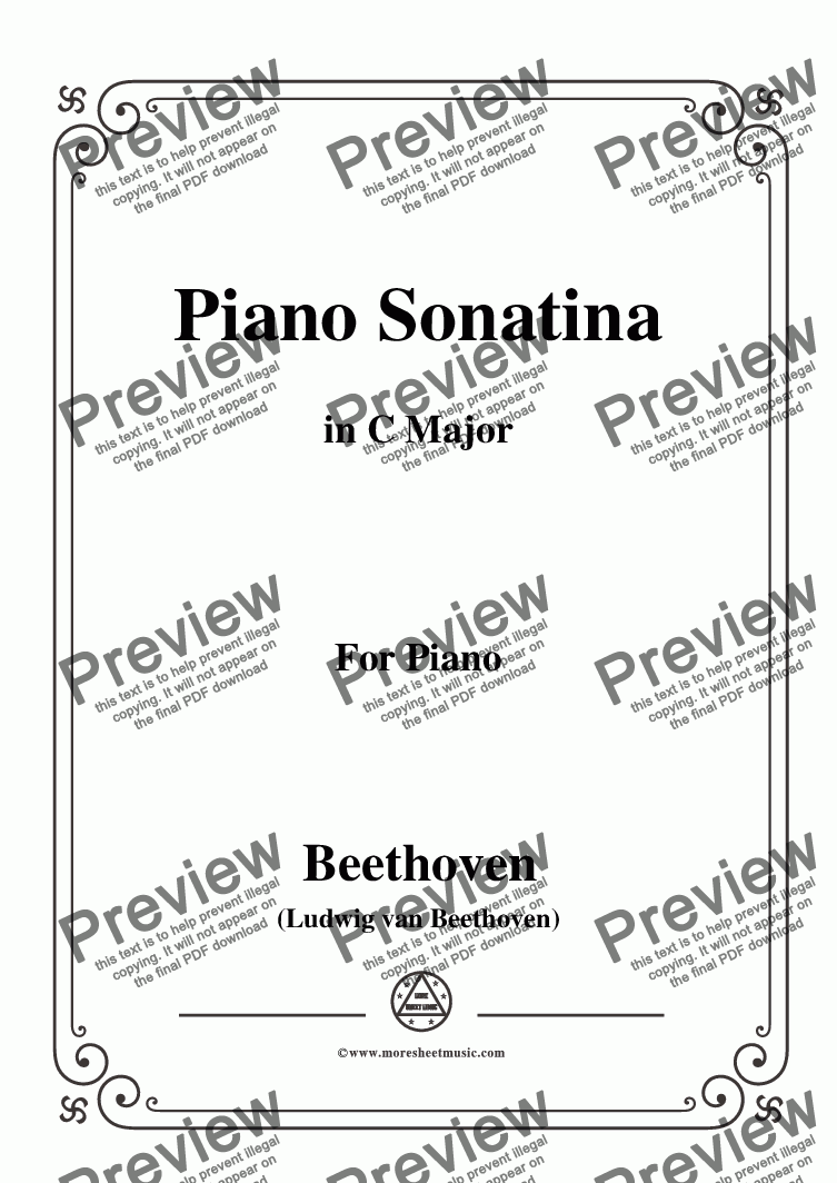 page one of the C01308W0042N01Beethoven-Piano Sonatina in C Major - Score and parts part from Beethoven-Piano Sonatina in C Major,for Piano
