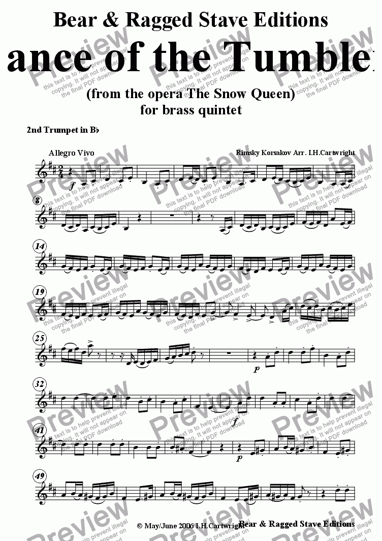 page one of the 2nd trumpet Bb part from Dance of the Tumblers for brass quintet