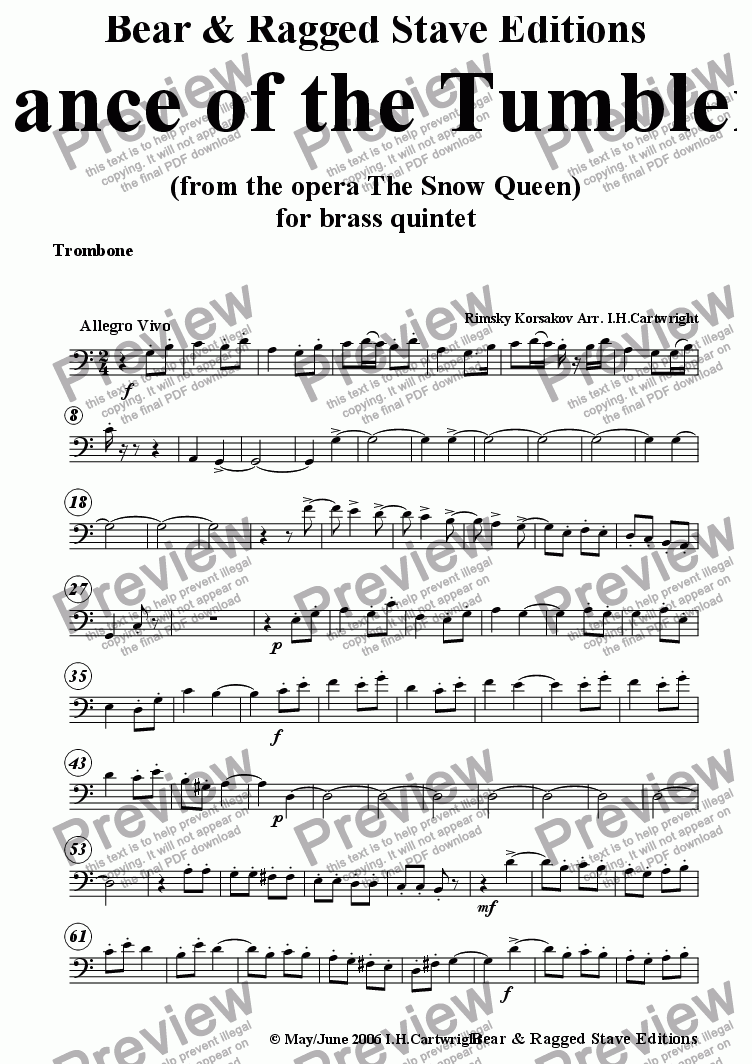 page one of the Trombone part from Dance of the Tumblers for brass quintet