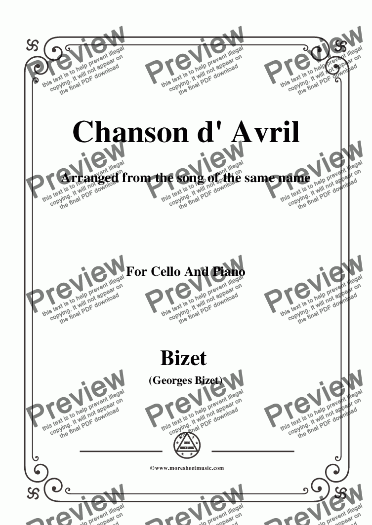 page one of the C01708W0003N12Bizet-Chanson d' Avril,for Cello and Piano - Score and parts part from Bizet-Chanson d' Avril,for Cello and Piano