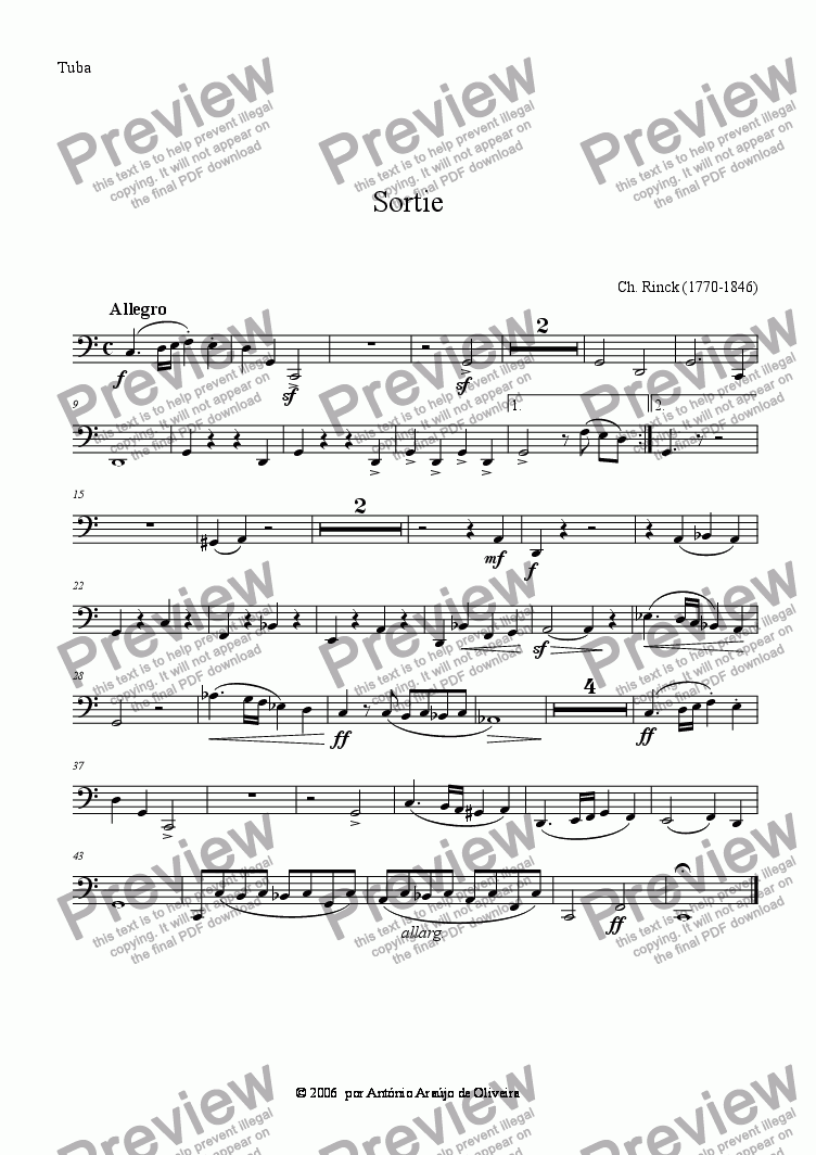 page one of the Tuba part from Sortie