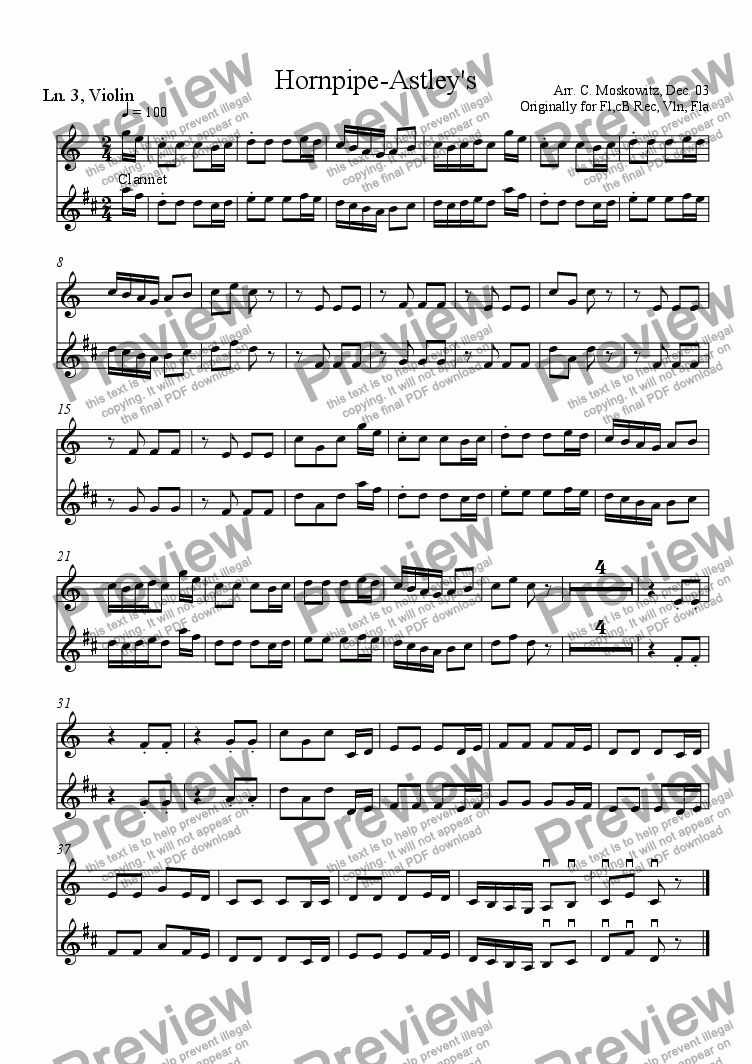 page one of the Line 3, Violin or Bb clarinet part from Hornpipe, Astley's