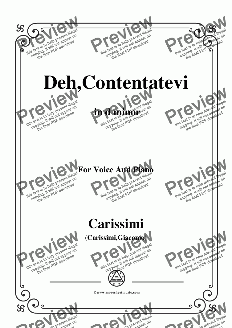 page one of the C02714W0004N01Carissimi-Deh,Contentatevi,from A Cantata,in d minor,for Voice and Piano - Score and parts part from Carissimi-Deh,Contentatevi,from A Cantata,in d minor,for Voice and Piano