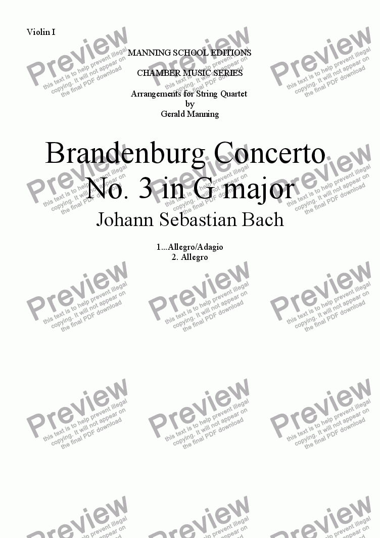 page one of the Violin I part from BACH, J,S. - Brandenburg Concerto No.3 in G major - arr. for String Quartet by Gerald Manning