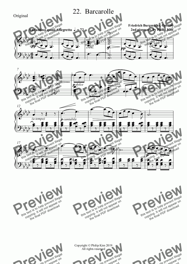 page one of the Original part from 22.  Barcarolle from 25 Easy and Progressive studies  Op. 100 for 2 pianos