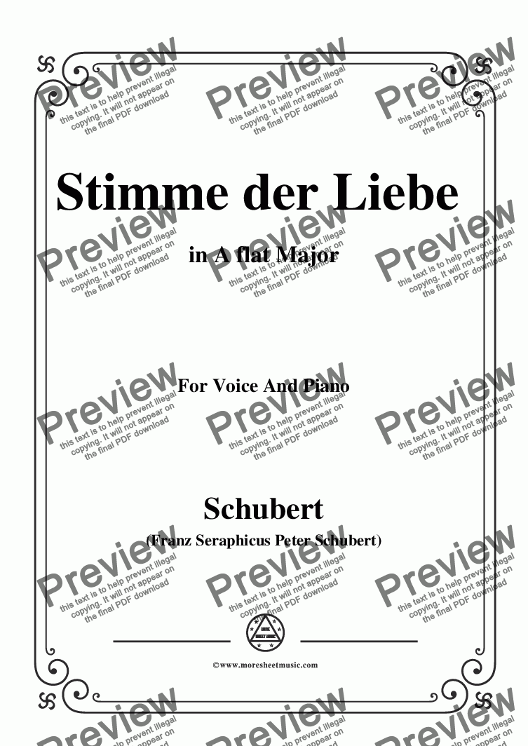 page one of the C05330W0031N02Schubert-Stimme der Liebe,D.418,in A flat Major - Score and parts part from Schubert-Stimme der Liebe,D.418,in A flat Major,for Voice and Piano