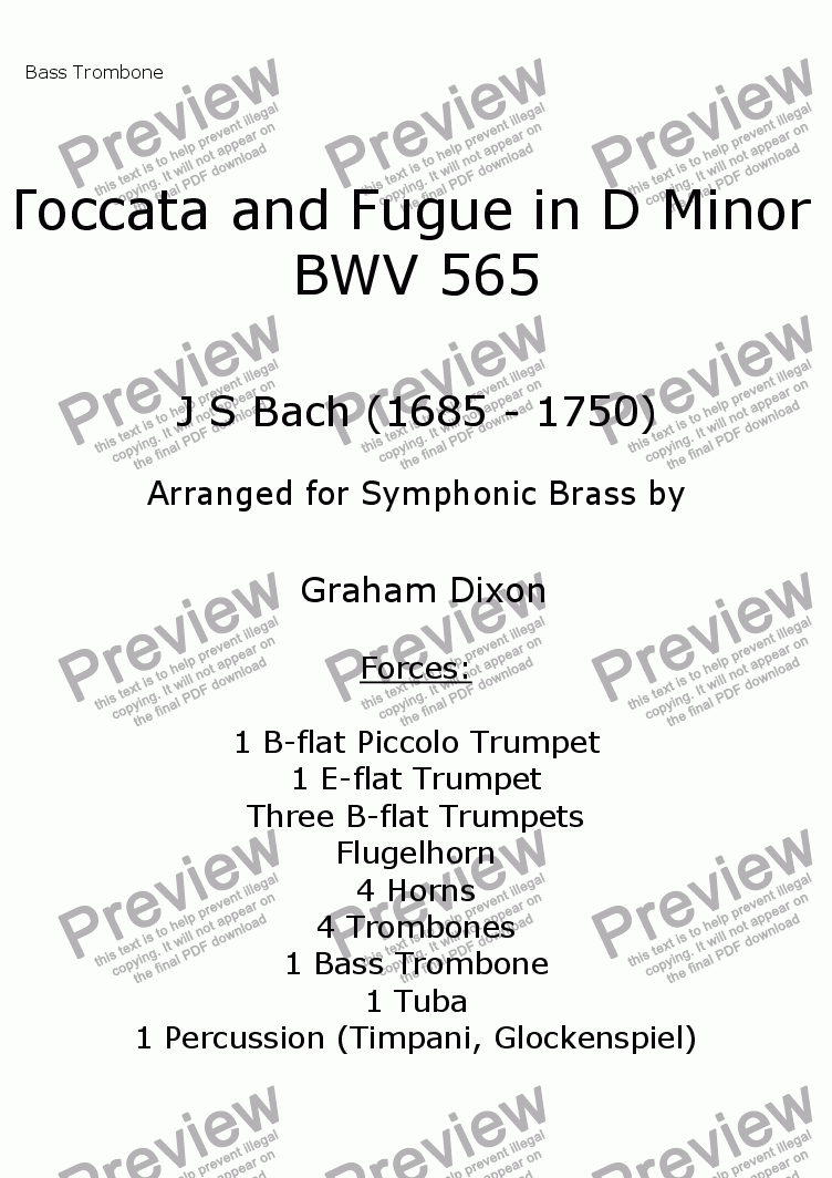page one of the Bass Trombone part from Toccata and Fugue in D Minor for Symphonic Brass